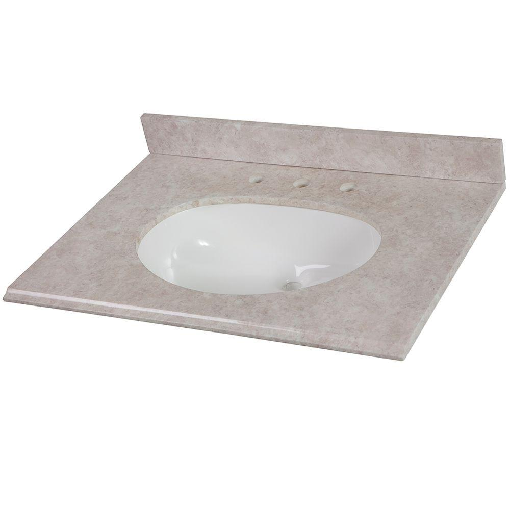 Home Decorators Collection 31 in. Stone Effects Vanity Top in Oasis with White Basin