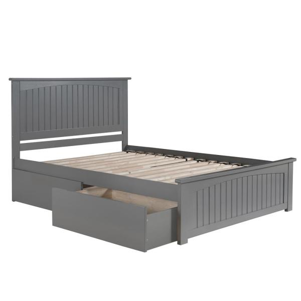 Nantucket Queen Platform Bed with Matching Foot Board with 2 Urban Bed Drawers in Grey