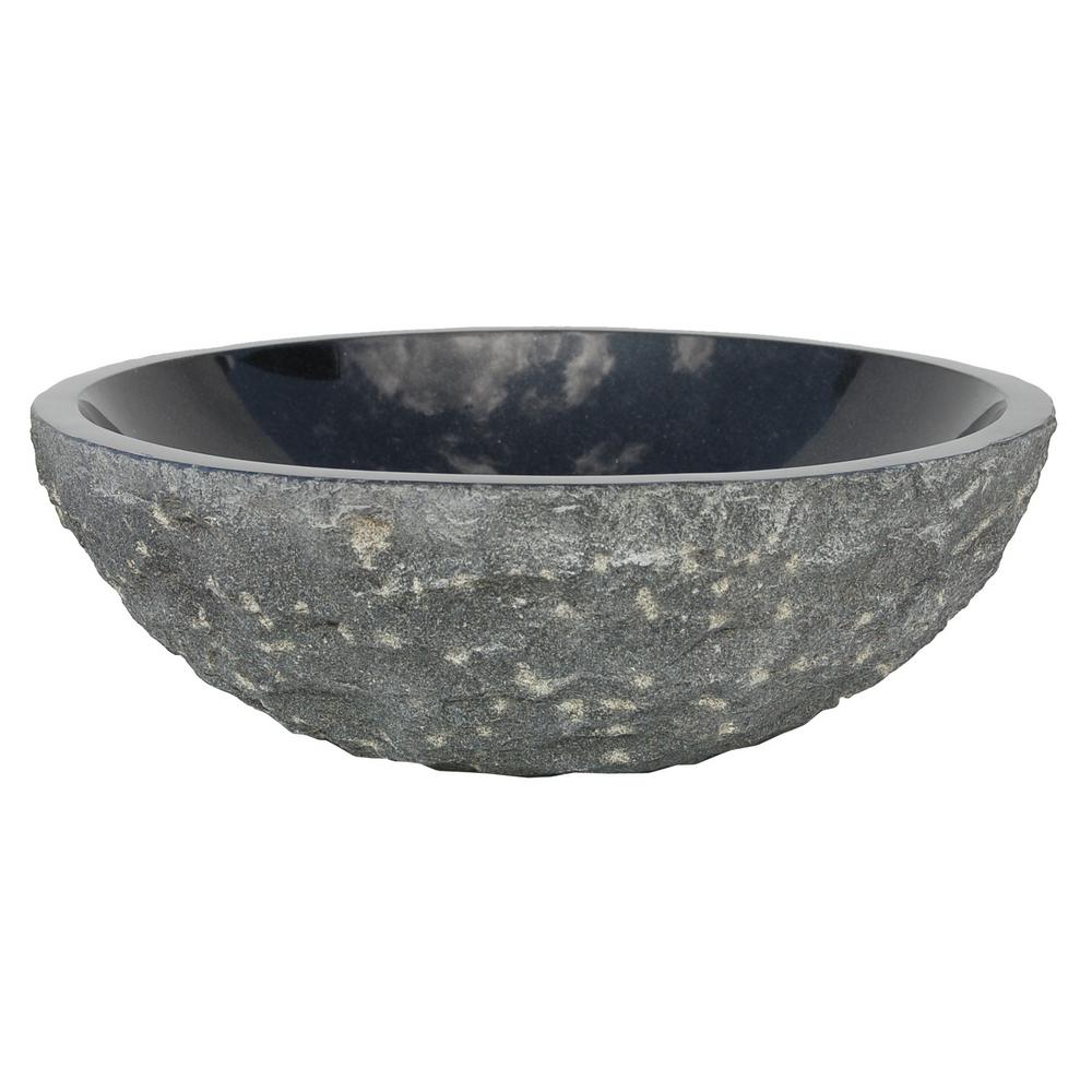 Eden Bath Rough Exterior Polished Interior Round Stone