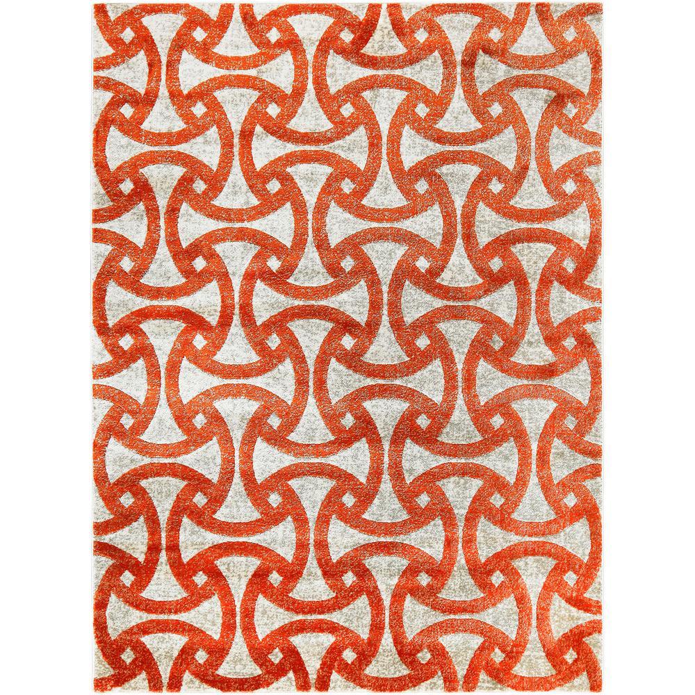 Tanja Jace Orange 7 ft. 10 in. x 10 ft. 2 in. Indoor Area Rug