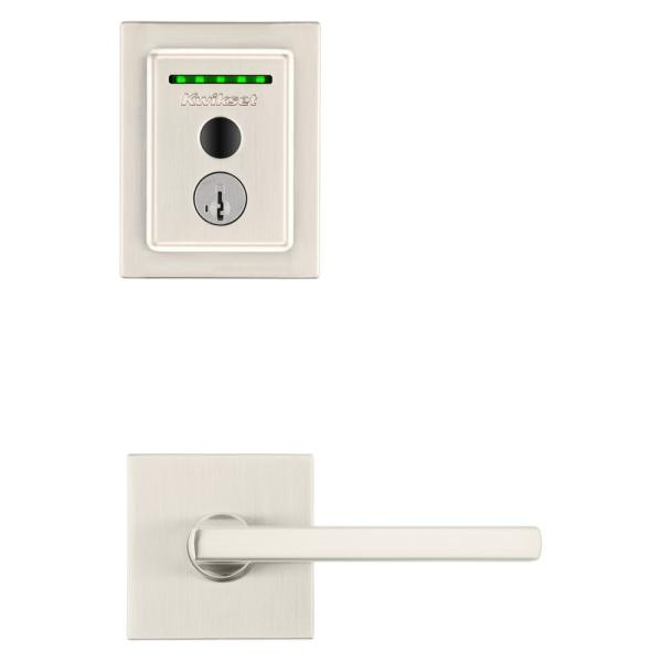 Halo Touch Satin Nickel Contemporary Fingerprint WiFi Elec Smart Lock Deadbolt Feat SmartKey Security with Halifax lever
