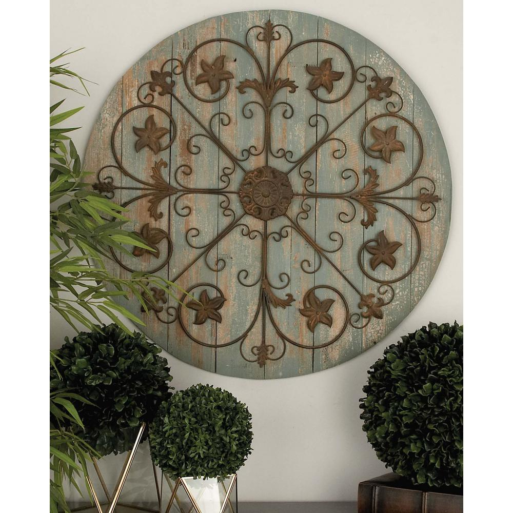 36 in. Rustic Wooden and Iron Wagon Wheel Wall Decor in