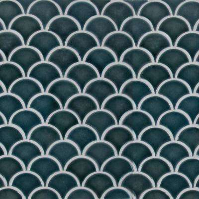 Azul Scallop Glossy 13.11 in. x 9.96 in. x 8mm Glazed Porcelain Mesh-Mounted Mosaic Tile (9.1 sq. ft. / case)