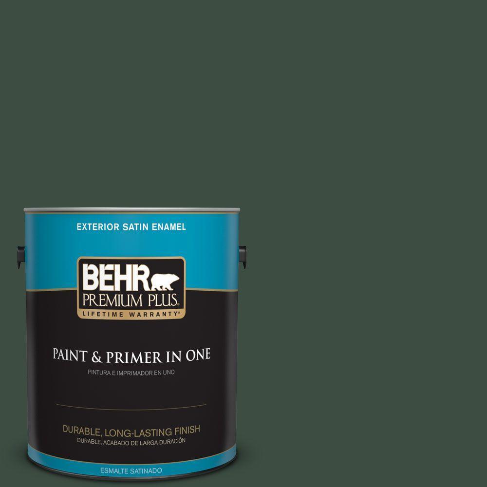 BEHR Premium Plus 1-gal. #ECC-45-3 Conifer Satin Enamel Exterior Paint