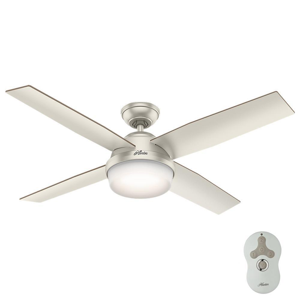 37fa915bcdd882 Hunter Dempsey 52 in. LED Indoor Outdoor Matte Nickel Ceiling Fan with Light