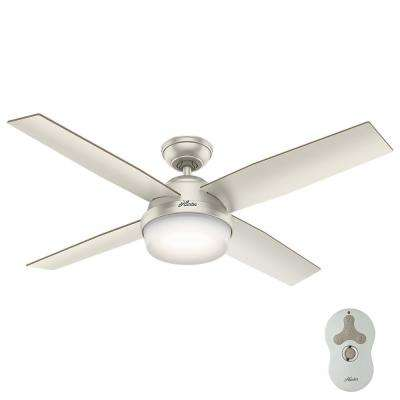 Dempsey 52 in. LED Indoor/Outdoor Matte Nickel Ceiling Fan with Light