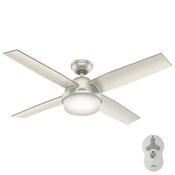 Dempsey 52 in. LED Indoor/Outdoor Matte Nickel Ceiling Fan with Light and Remote