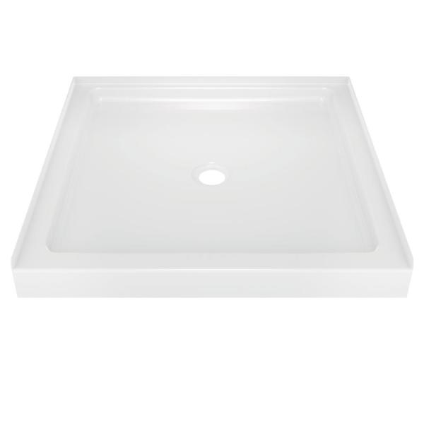 Classic 400 36 in. x 36 in. Single Threshold Alcove Shower Base in High Gloss White