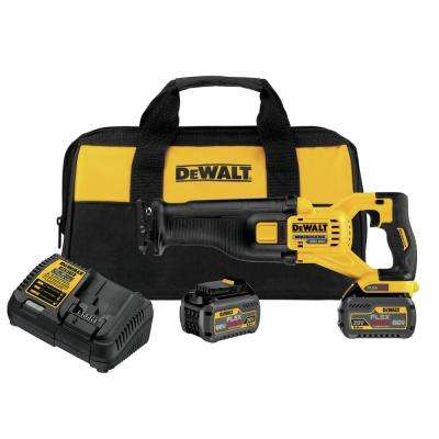 FLEXVOLT 60-Volt MAX Lithium-Ion Cordless Brushless Reciprocating Saw with (2) Batteries 2Ah, Charger and Contractor Bag