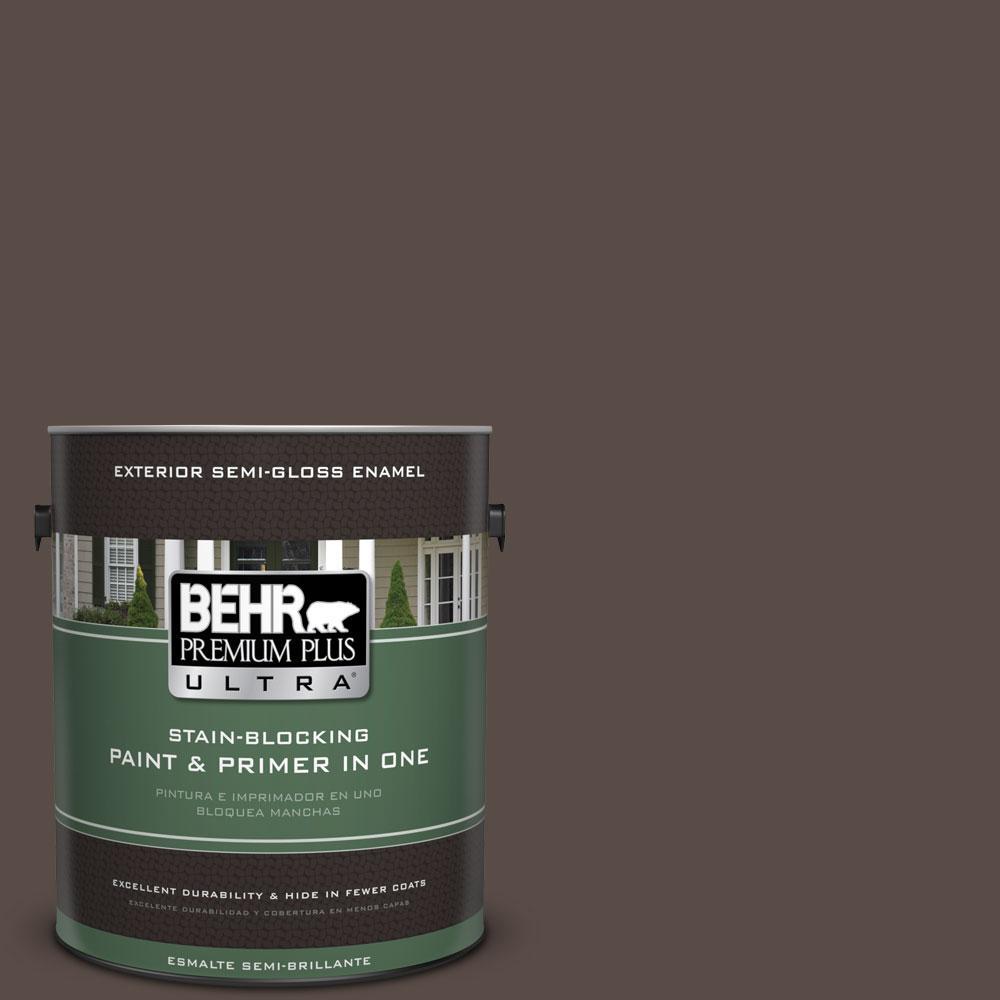 BEHR Premium Plus Ultra 1-gal. #PPU5-19 Dark Truffle Semi-Gloss Enamel Exterior Paint