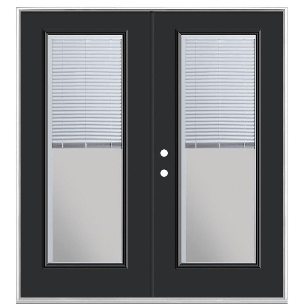 Masonite 72 in. x 80 in. Jet Black Steel Prehung Right-Hand Inswing Mini Blind Patio Door without Brickmold