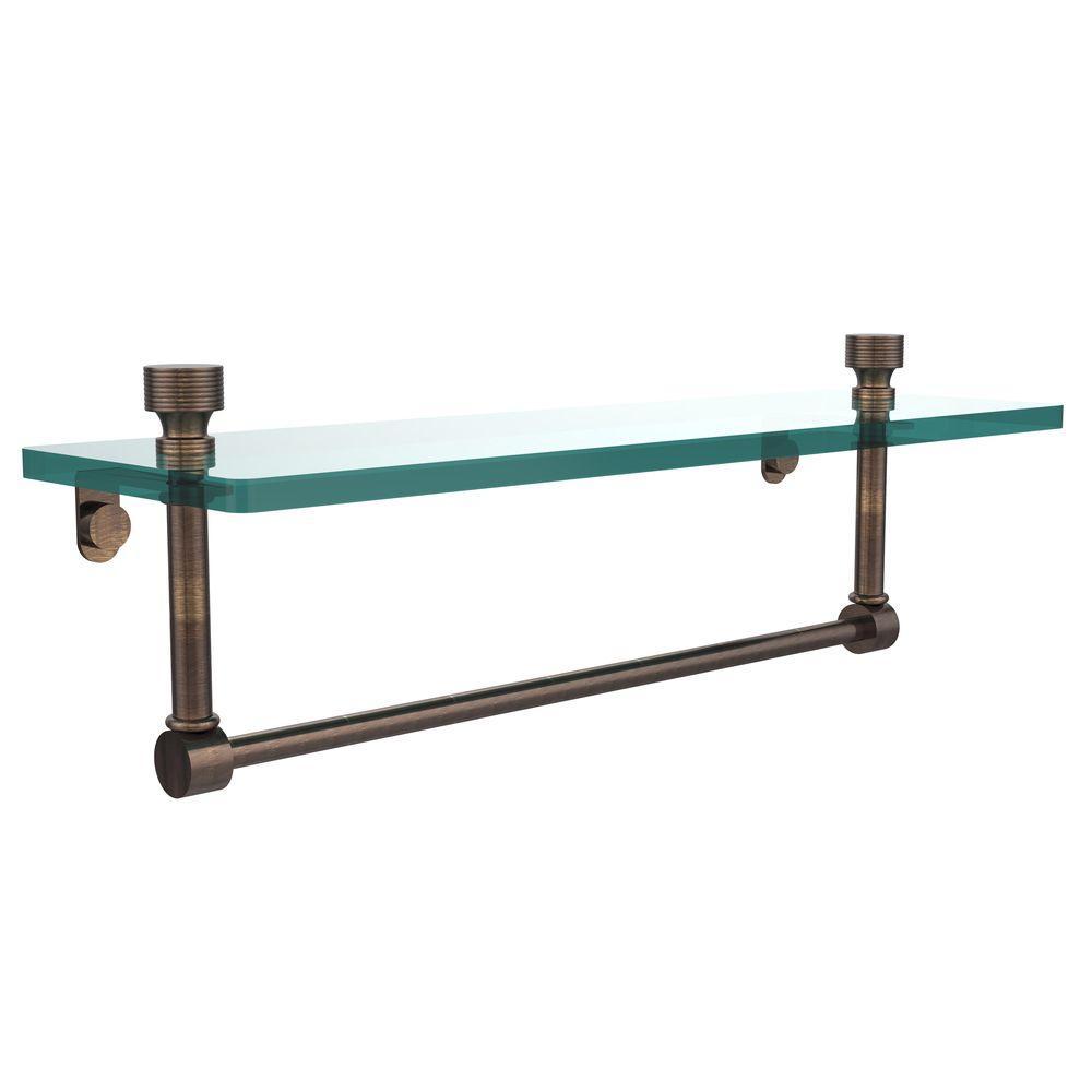 Foxtrot 16 in. L  x 5 in. H  x 5 in. W Clear Glass Vanity Bathroom Shelf with Towel Bar in Venetian Bronze