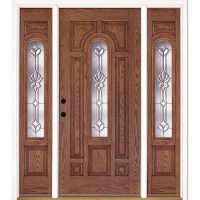 63.5 in.x81.625 in. Medina Brass Center Arch Lt Stained Medium Oak Right-Hand Fiberglass Prehung Front Door w/ Sidelites