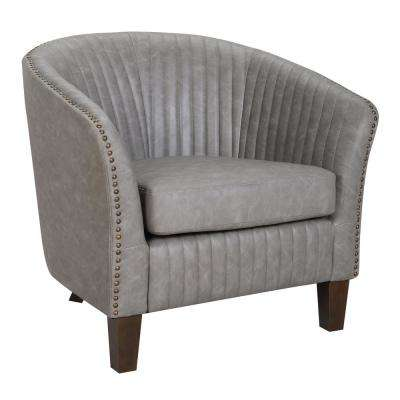 Shelton Light Grey Faux Leather Club Chair