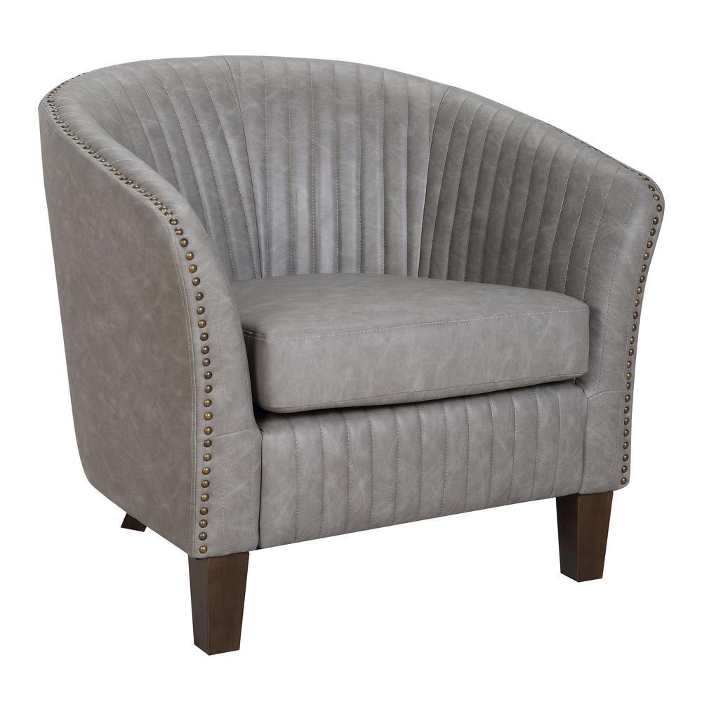 Lumisource Shelton Light Grey Faux Leather Club Chair CHR-SHLTN LGY