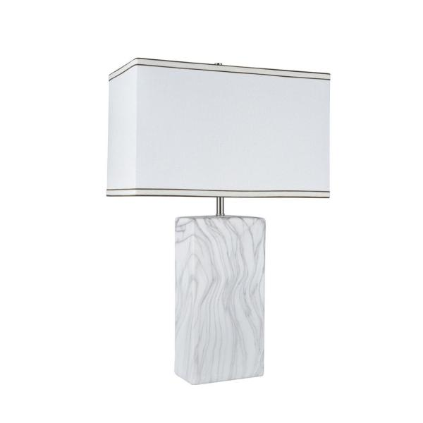 Aspen Creative Corporation 25-1/2 in. Marble Ceramic Table Lamp with Hardback Rectangle Shaped Lamp Shade in Off-White