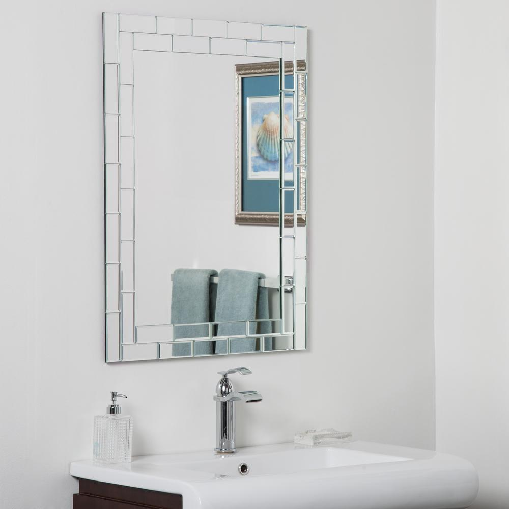 Decor Wonderland 10 in. W x 10 in. H Frameless Rectangular Beveled Edge  Bathroom Vanity Mirror in Silver-DWSM10-10 - The Home Depot