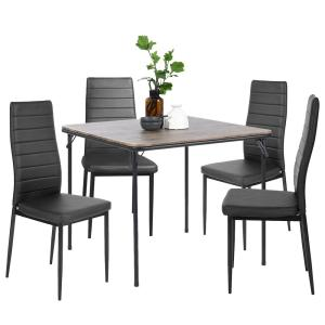 Deals on FurnitureR Ann Black High Backrest Upholstered Dining Chairs 4-Set