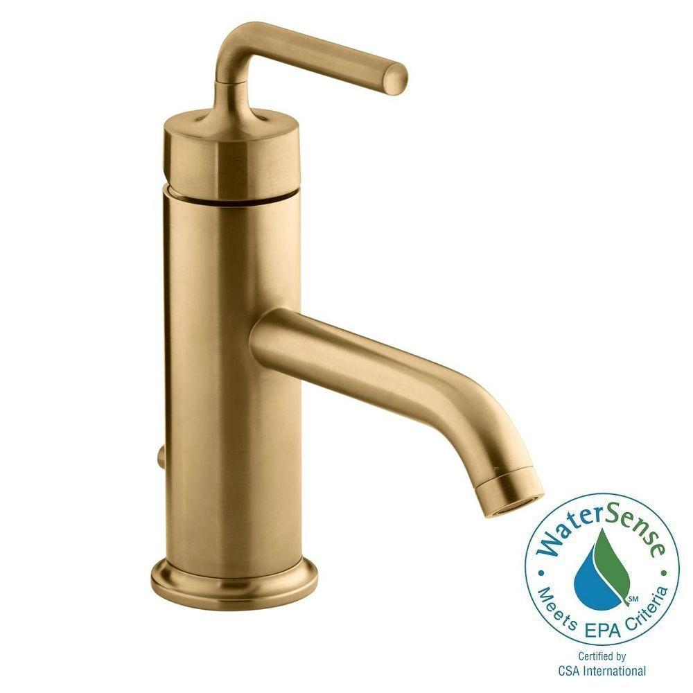 Kohler purist 1 hole single handle low arc bathroom vesesl for Gold bathroom sink taps