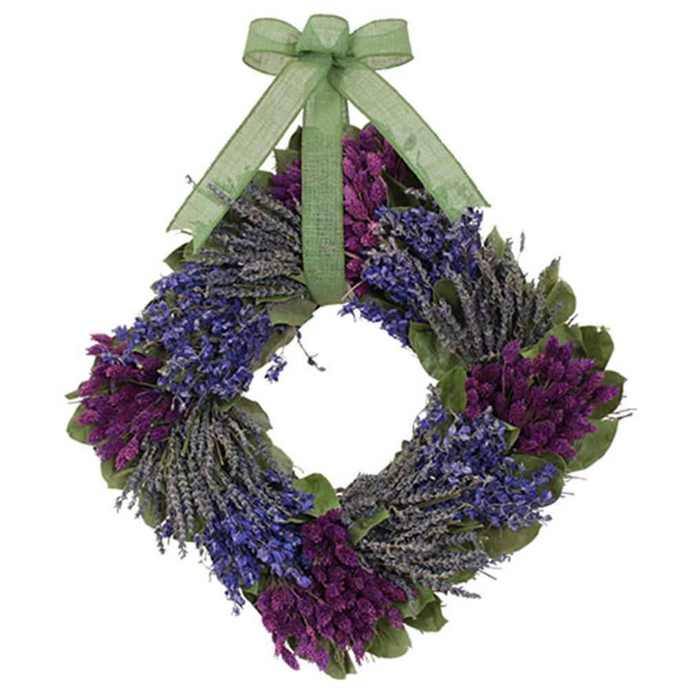 The Christmas Tree Company Lavender and Larkspur 16 in. Dried Floral Square Wreath