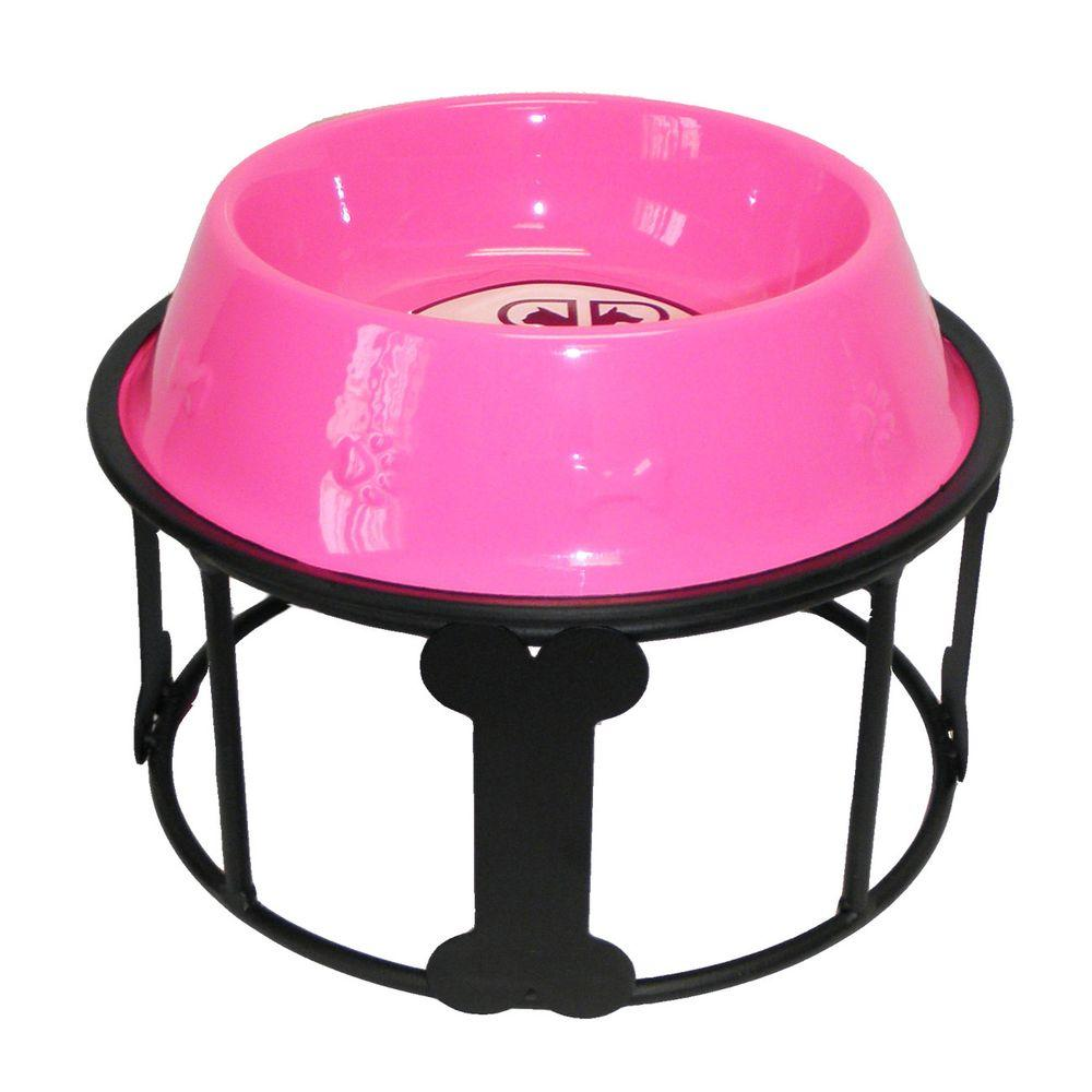 Platinum Pets 6.25 Cup Wrought Iron Bones and Stripes Single Feeder with Embossed Non-Tip Bowl in Pink