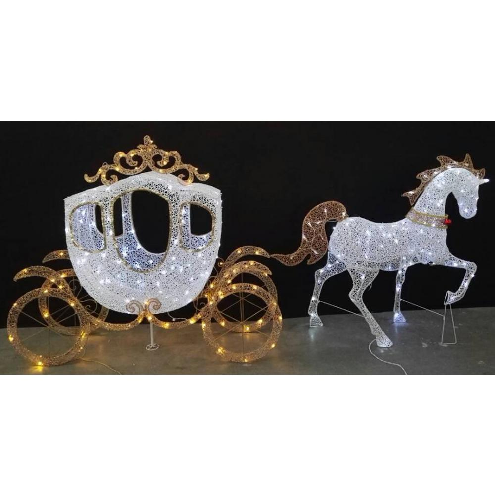 home accents holiday 58 in led warm white carriage and 43 in led warm - Christmas Horse Yard Decorations