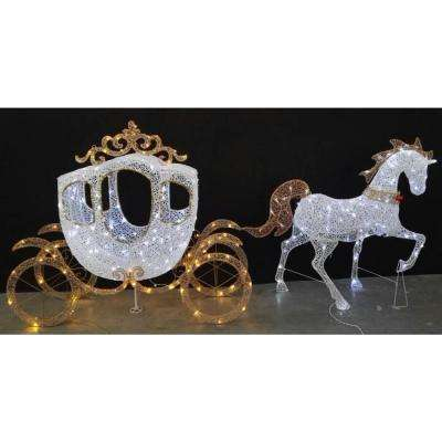 58 in led warm white carriage and 43 in led warm white horse - Home Depot Outside Christmas Decorations