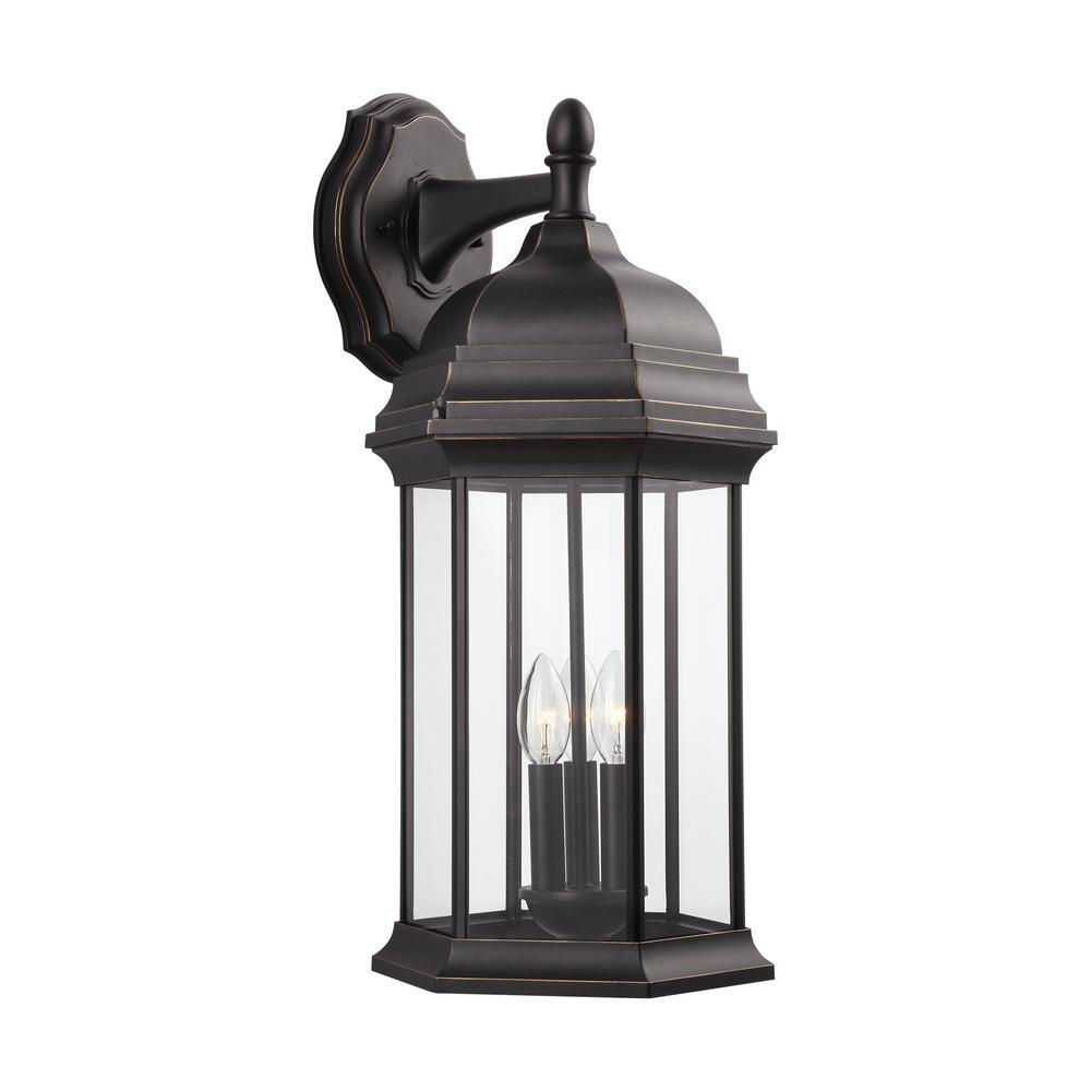 Sevier 3-Light Antique Bronze Outdoor Wall Lantern Sconce