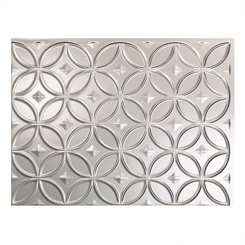 Fasade 24 in. x 18 in. Rings PVC Decorative Backsplash Panel in Brushed Aluminum