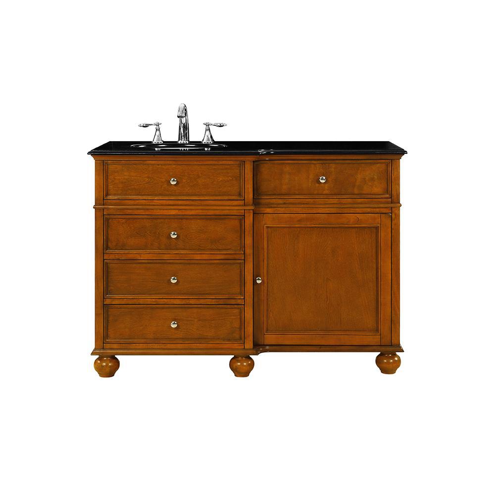 Home Decorators Collection Hampton Harbor 48 in. W x 22 in. D in Sequoia Bath Vanity with  Granite Vanity Top in Black with White Sink