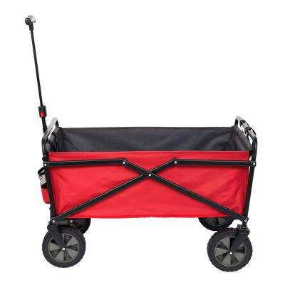 150 lbs. Capacity Portable Folding Steel Wagon Outdoor Garden Cart in Red