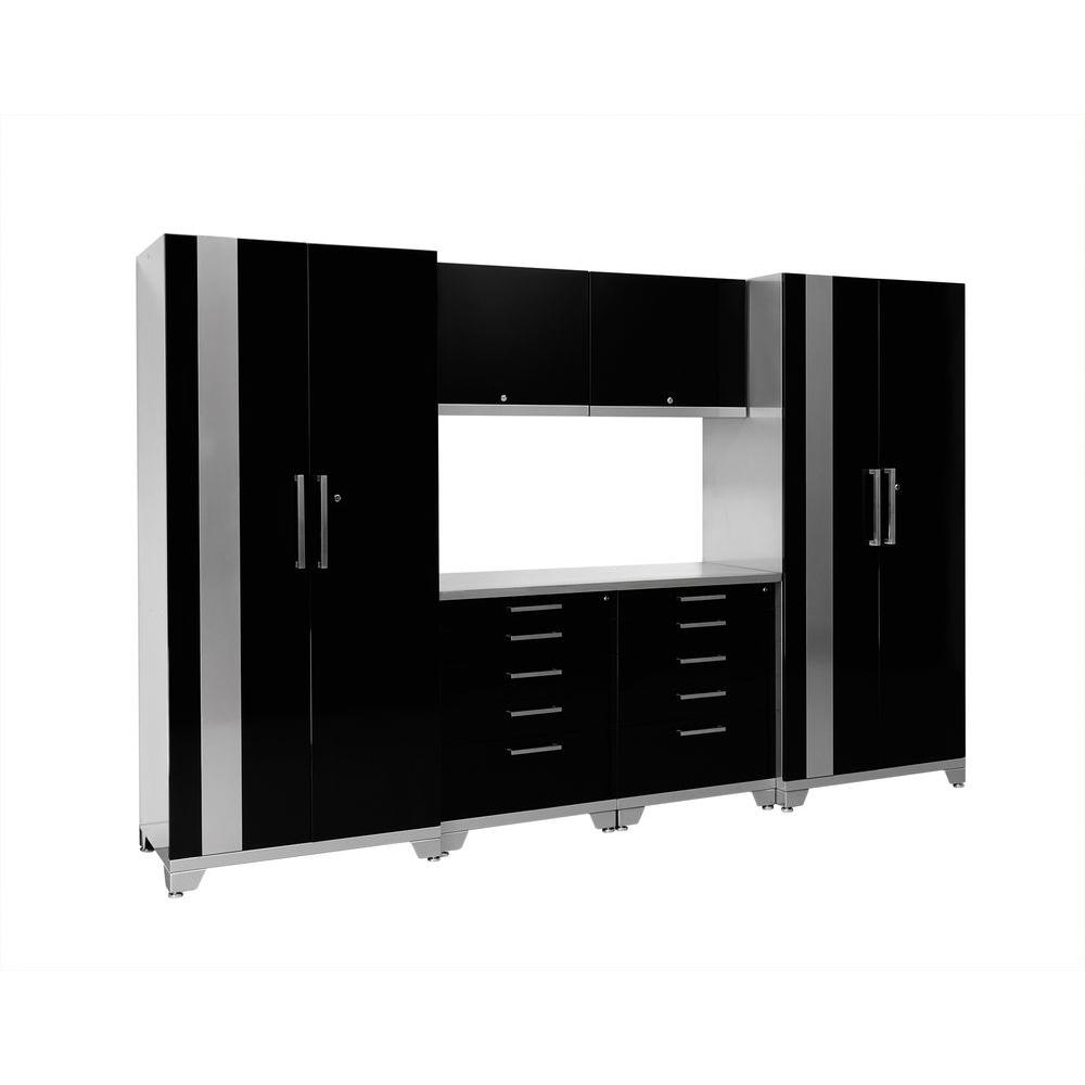 NewAge Products Performance Plus 83 in. H x 128 in. W x 24 in. D Steel Garage Cabinet Set in Black (7-Piece)