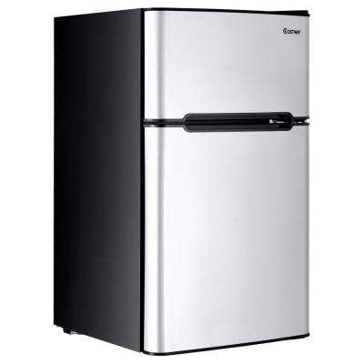 Stainless Steel 3.2 cu. ft. Mini Refrigerator Small Freezer Cooler Fridge Compact Unit in Gray