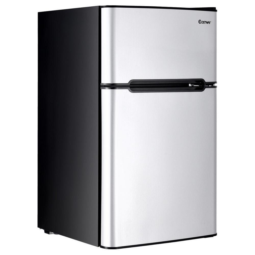 Stainless Steel 3.2 cu. ft. Mini Fridge Small Freezer Cooler Fridge Compact Unit in Gray