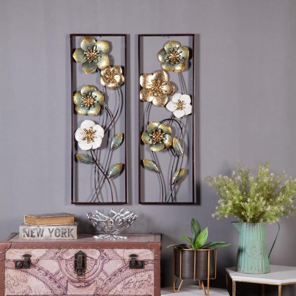 Luxen Home Metal Flowers Wall Decor 2 Pieces Wha744 The Home Depot