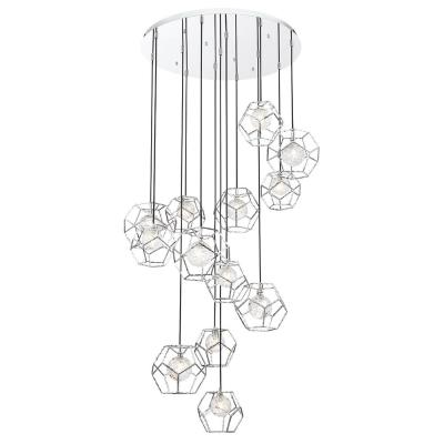 Norway 65-Watt Chrome Chandelier Integrated LED with Hand Made Ice Glass Shade