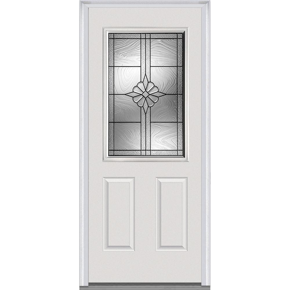 36 in. x 80 in. Dahlia Left-Hand Inswing 1/2-Lite Decorative Primed Steel Prehung Front Door