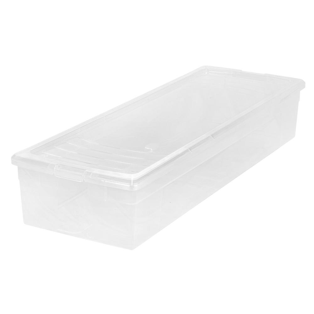 IRIS 30 in. Wrapping Paper Storage Box in Clear Keep your wrapping paper protected and organized with this 30 in. Wrapping Paper Storage Box by IRIS USA, Inc. This box holds up to 28 rolls of 30 in. wrapping paper and is designed to fit under most beds. Use with the IRIS Ribbon and Craft Organizer Box which fits securely inside. Color: Clear.