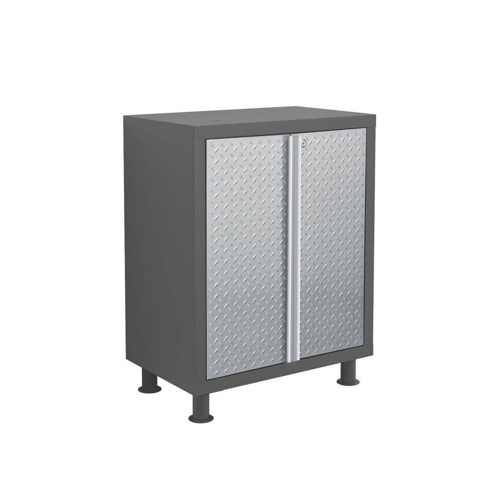 NewAge Products Bold Diamond Plate Series 33 in. H x 26 in. W x 16 in. D Welded 23-gauge Steel 2- Door Base Cabinet