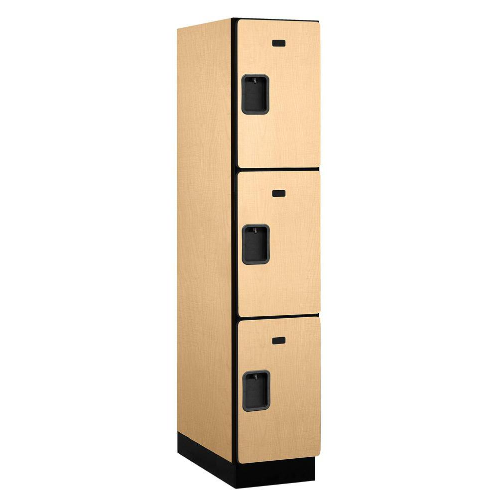 Salsbury Industries 23000 Series Triple-Tier 24 in. D 3-Compartments Extra Wide Designer Particle Board Locker in Maple