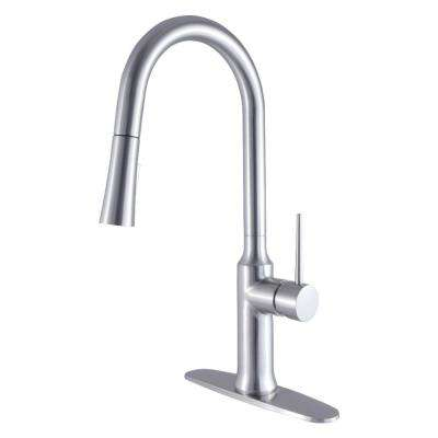 New York Single-Handle Pull-Down Sprayer Kitchen Faucet in Brushed Nickel
