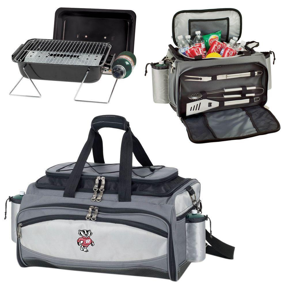 Picnic Time Wisconsin Badgers - Vulcan Portable Propane Grill and Cooler Tote with Digital Logo, Black/Gray