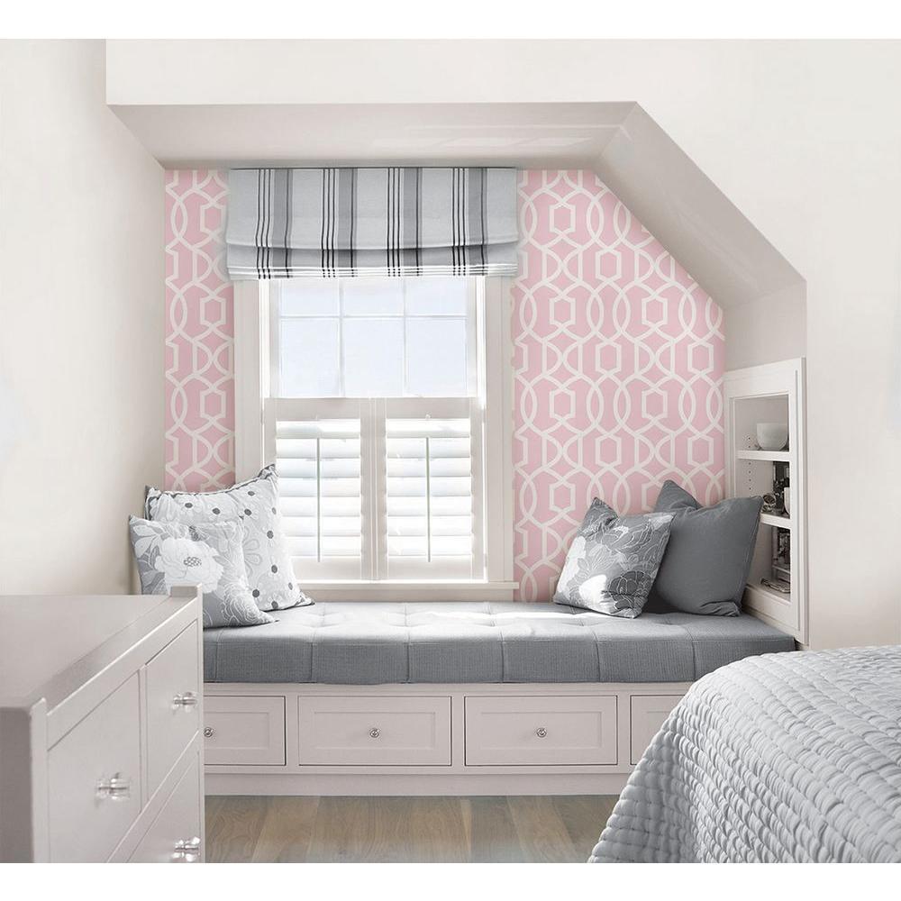Pink Grand Trellis Peel and Stick Wallpaper Sample