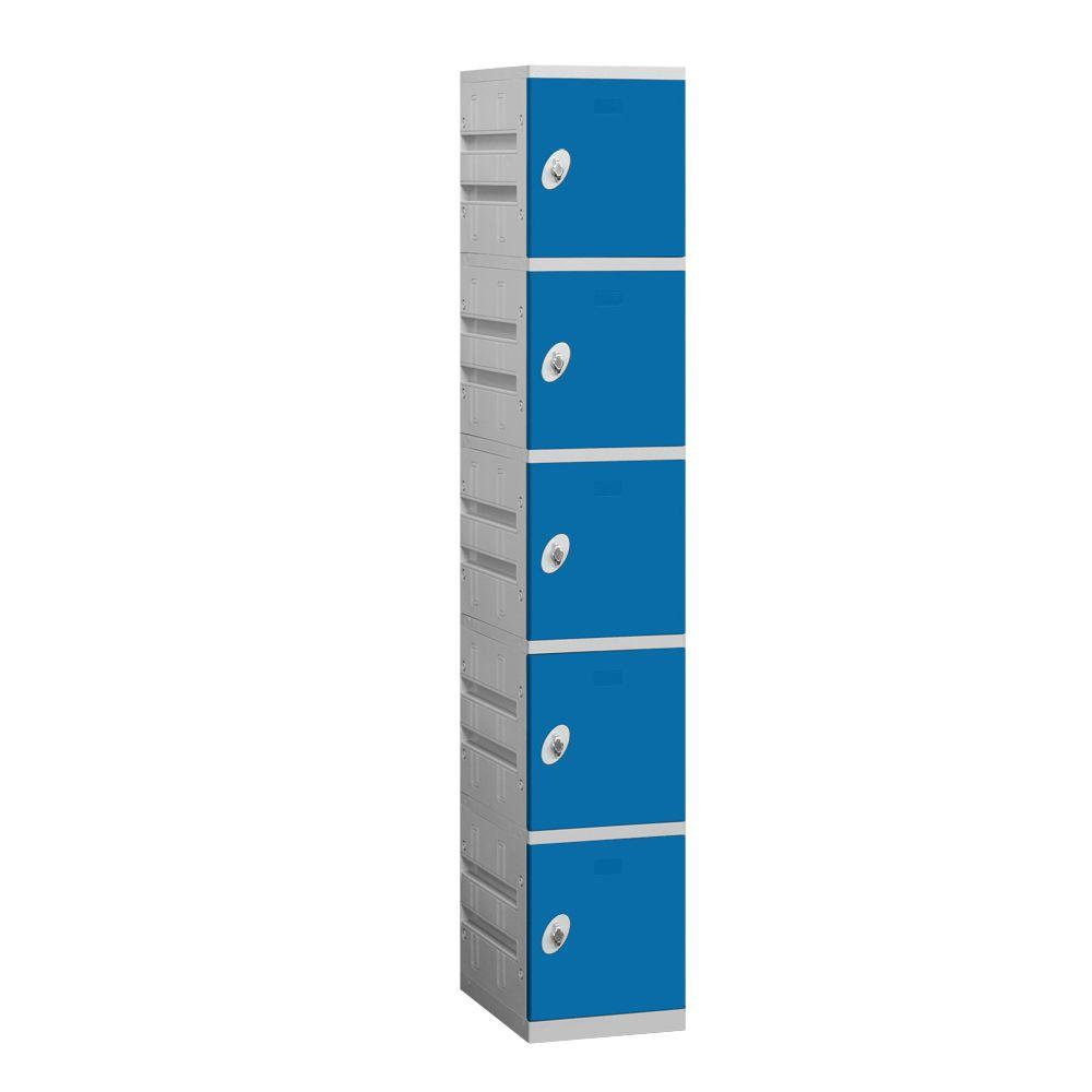 Salsbury Industries 95000 Series 12.75 in. W x 74 in. H x 18 in. D 5-Tier Plastic Lockers Assembled in Blue