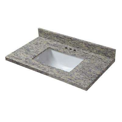 31 in. W x 19 in. D Granite Vanity Top in Santa Cecilia with White Trough Sink