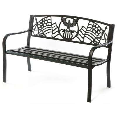 """Steel Outdoor Patio Garden Park Bench with Cast Iron """"American Flag"""" Backrest"""