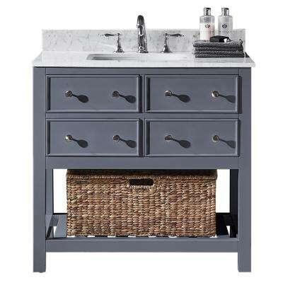Elodie 36 in. W x 22 in. D x 34.21 in. H Bath Vanity in Cashmere Grey with Marble Vanity Top in White with White Basin
