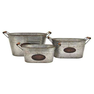11.5 in. Gray Galvanized Planters (Set of 3)