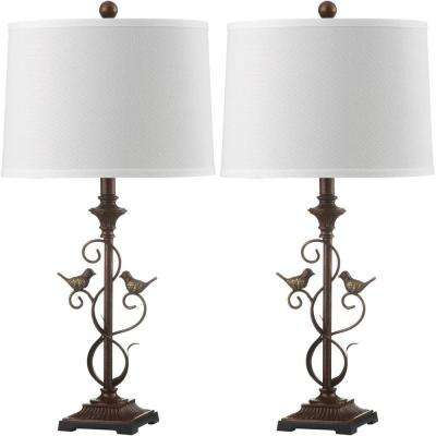 Birdsong 28 in. Oil-Rubbed Bronze Table Lamp with Off-White Shade (Set of 2)