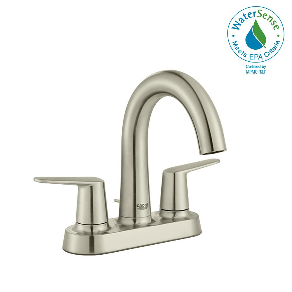 Grohe Veletto 4 in. Centerset Two-Handle High-Spout Bathroom Faucet ...